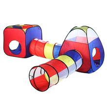 Casa de campaña con túnel para gatear para bebé, 4 Uds., casa de juegos infantil para interior y exterior, PISCINA DE BOLAS juguetes de mina plegable