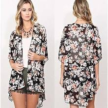 Donne di estate Cover Up Bikini Top Boho Floreale Manica Lunga Kimono Cardigan Allentato Lungo del Cappotto di Primavera(China)