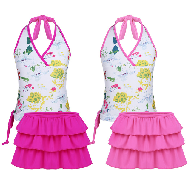 TiaoBug Kids Teens Floral Tankini Swimwear Halter Swimming Tops Shorts Skirt Bikini Set Girls Swimsuit Bathing Suit Beachwear