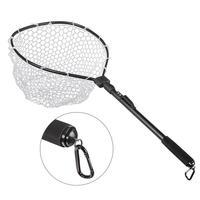 Outdoor Fast Folding Hand Net Fly Fish Landing Net Trout Bass Net Soft Rubber Mesh Catch Release Net
