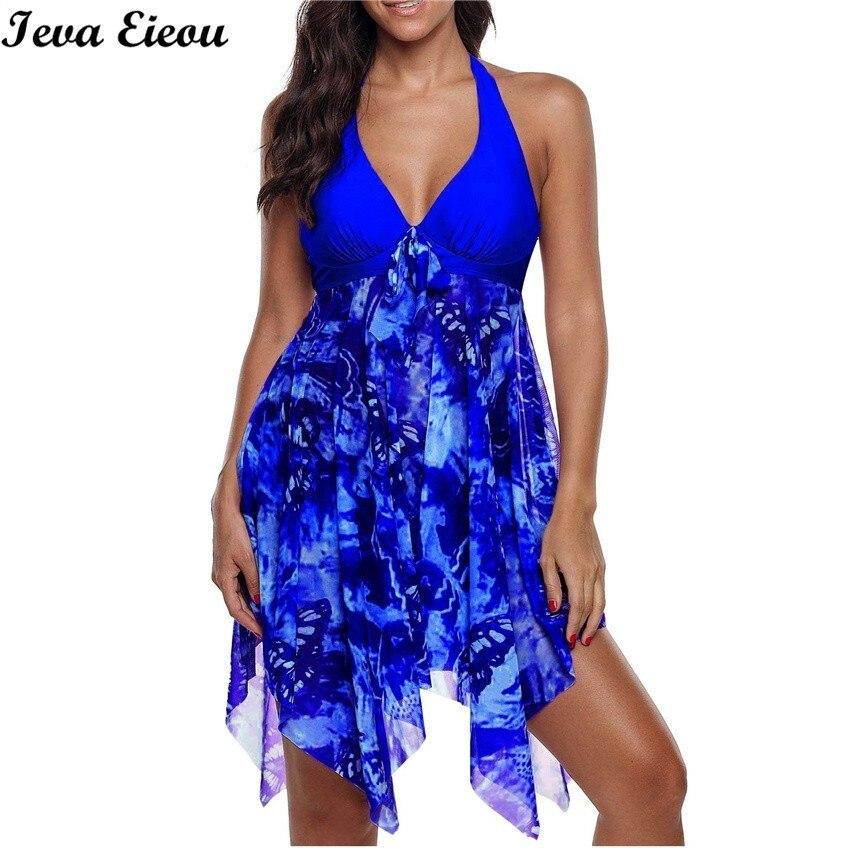 S 5XL Plus Size Tankini Set Two Piece Swimsuits With Chiffon Skirt Push Up Swimwear 2019