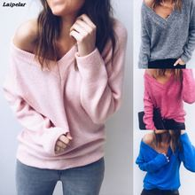 Laipelar 2018 Autumn Knitted Sweater Women V Neck Fashion Solid Long Sleeve Casual Pullover Sweaters Sexy Female Women Pullover цена и фото