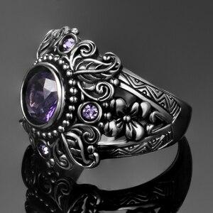 Image 3 - Винтажное ювелирное изделие, 3 карата, аметист, Стерлинговое Серебро 925 пробы, кольцо, круглая огранка Фиолетовый натуральный камень, женские свадебные кольца с драгоценными камнями Anel Aneis