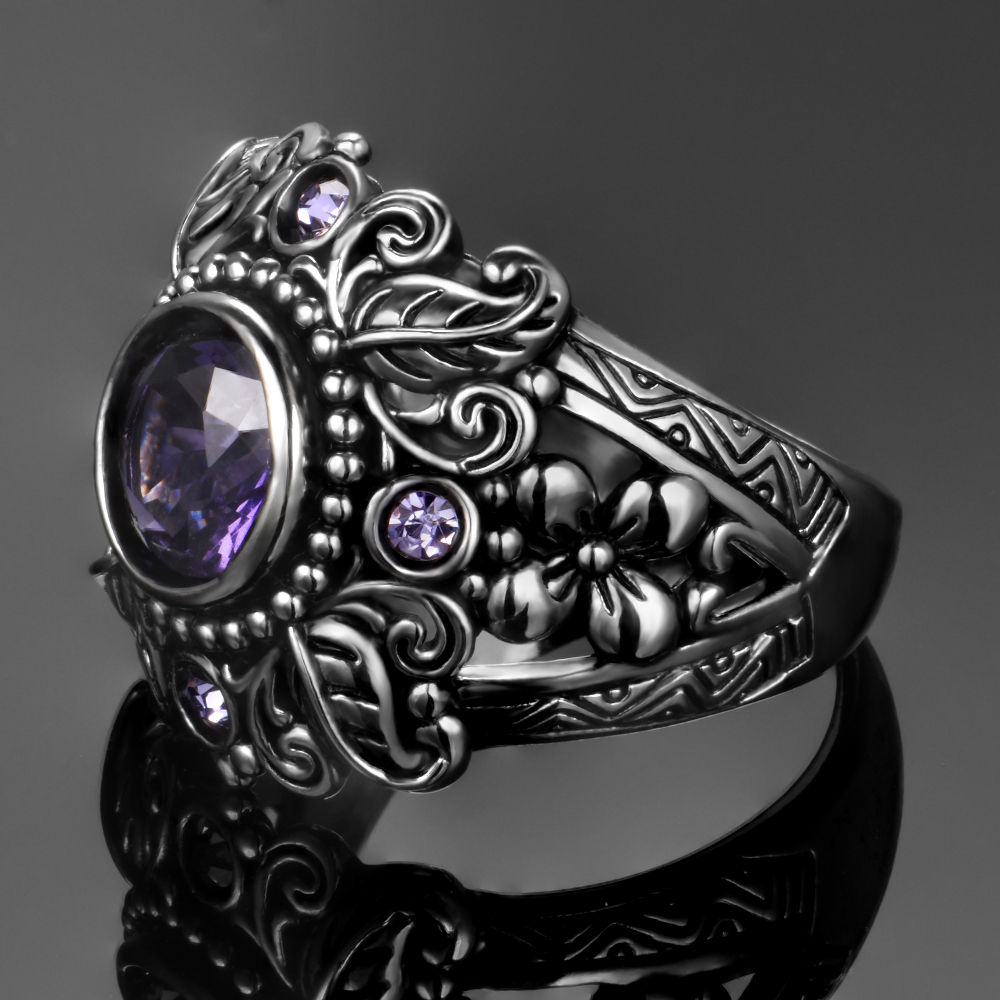 Vintage Jewelry 3ct Amethyst 925 Sterling Silver Ring Round Cut Purple Nature stone Women Wedding Anel Vintage Jewelry 3ct Amethyst 925 Sterling Silver Ring Round Cut Purple Nature stone Women Wedding Anel Aneis Gemstone Rings