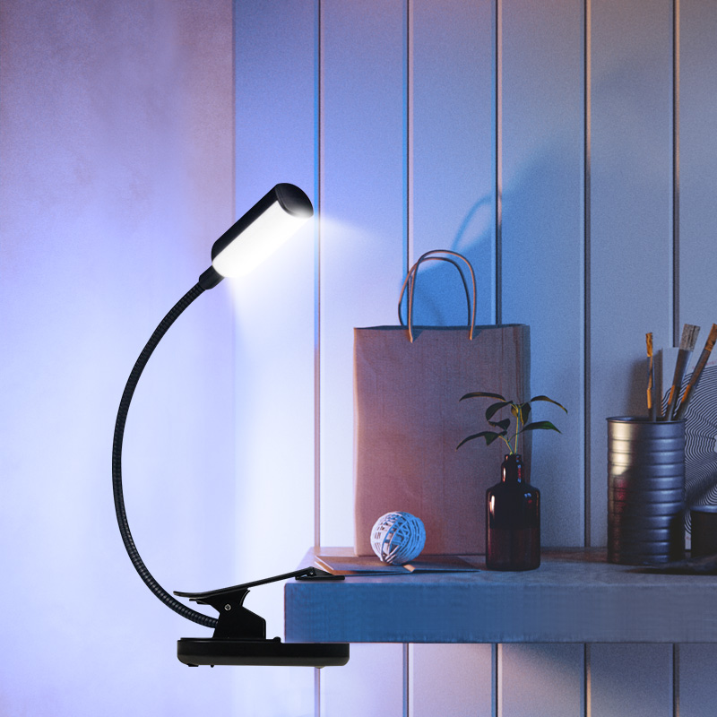 USB Rechargeable LED Book Light Flexible Book Lamp Bendable Clip on Table Desk Study Reading Light For Laptop PC Computer 3
