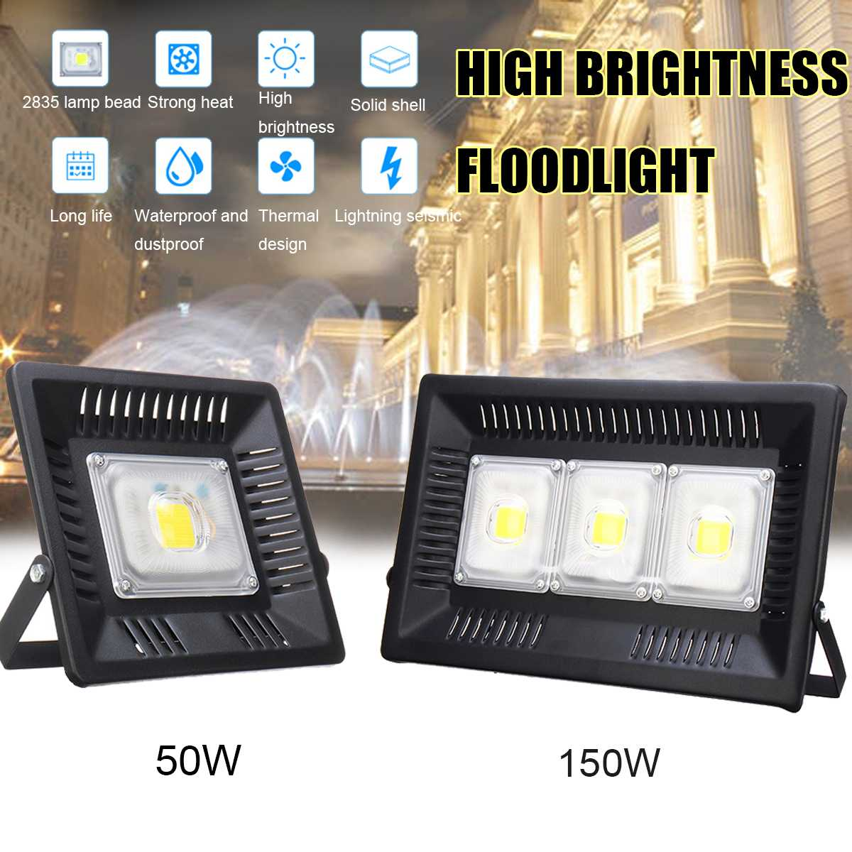 Lights & Lighting Collection Here 50/150w Outdoor Street Floodlights 108pcs 2835lamp Bead Led Flood Light Lighting Wall Reflector Waterproof Ip66 Path Spotlight Bright And Translucent In Appearance