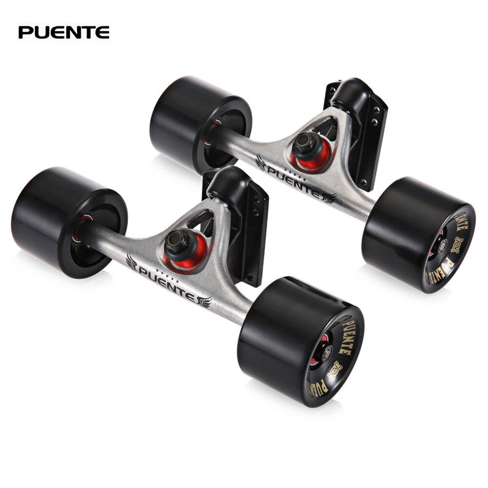 PUENTE 2 unids/set monopatín camión con 4 ruedas de skate elevador Pad ABEC 9 rodamiento perno-tuerca para Mini crucero longboard