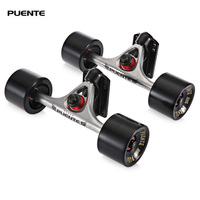 PUENTE 2pcs / Set Skateboard Truck with 4 Skateboard Wheels Riser Pad ABEC 9 Bearing Bolt Nut For Mini Cruiser Longboard