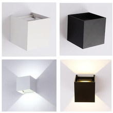 LED Wall Light Indoor Sconces Cube Hallway Black Up/Down Warm Cool Outdoor Bedside White Night Small Simple AC110-240V 12W(China)