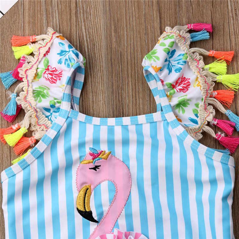 06b873e3c9ea6 ... Hot Sale Toddler Kids Baby Girls Flamingo Striped Swimwear Colorful  Tassel Bikini Set Vintage One- ...