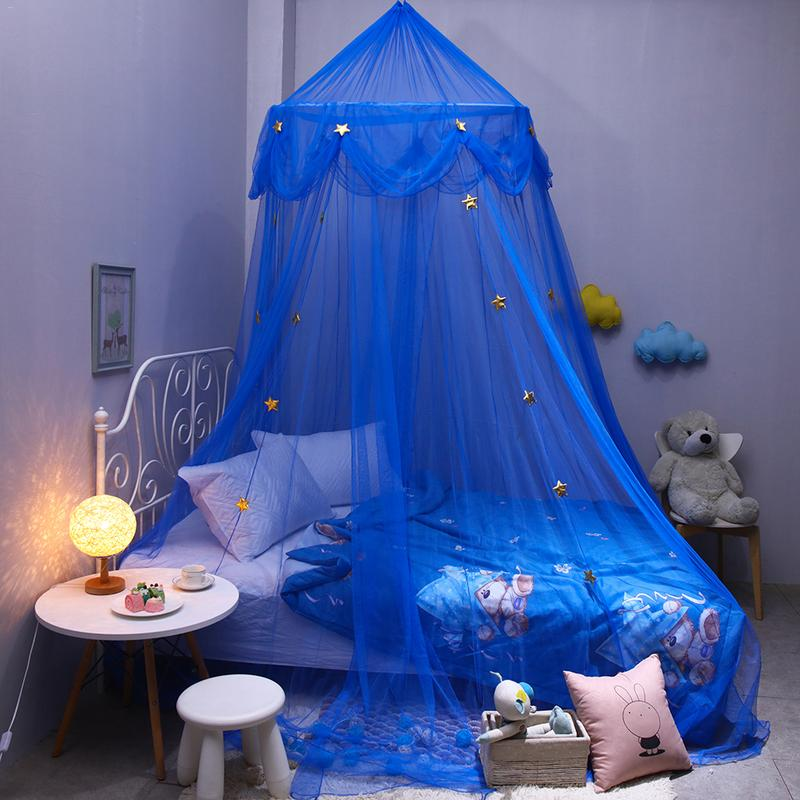 Fantasy Star Hanging Lace Dome Mosquito Net Canopy European Round Baby Crib Netting for Children's Bedroom Blue Bedding Tent