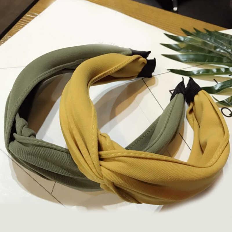 Warna Solid Ikat Kepala Simpul Cross Kain Rambut Hoop Twist Wanita Rambut Aksesoris 1 PC Sederhana Headband Headwrap Ring