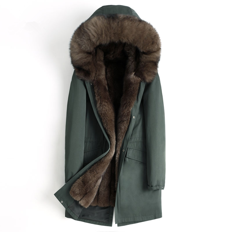 Jaqueta de Inverno dos homens Casaco De Pele Real Natural Fox Fur Parka Pele Morno Jacktes Roupas Masculinas 2019 Dos Homens De Luxo Plus Size tamanho 4555 MY1639