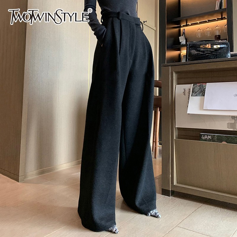 TWOTWINSTYLE Black   Wide     Leg     Pants   Female High Waist Plus Thick Long Wool Trousers For Women Casual Fashion 2019 Spring New