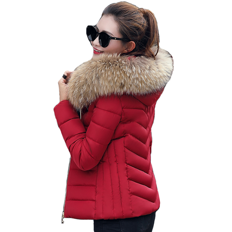 Fashion Women Lady Long Cotton Padded Parka Fur Collar Hooded Coat Winter Jacket