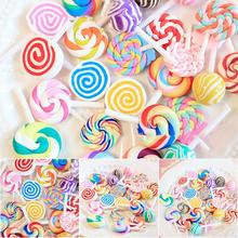 DIY Collage 30pcs Soft Pottery Lollipop Simulation Food Play Material Mixed Charm Resin Beads Mucus Beads