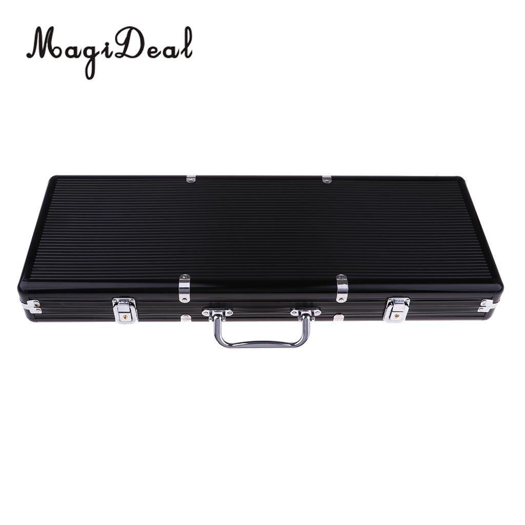Portable 500 pc boîtier en aluminium Casino Poker jeux puces compteurs boîte valise avec clé