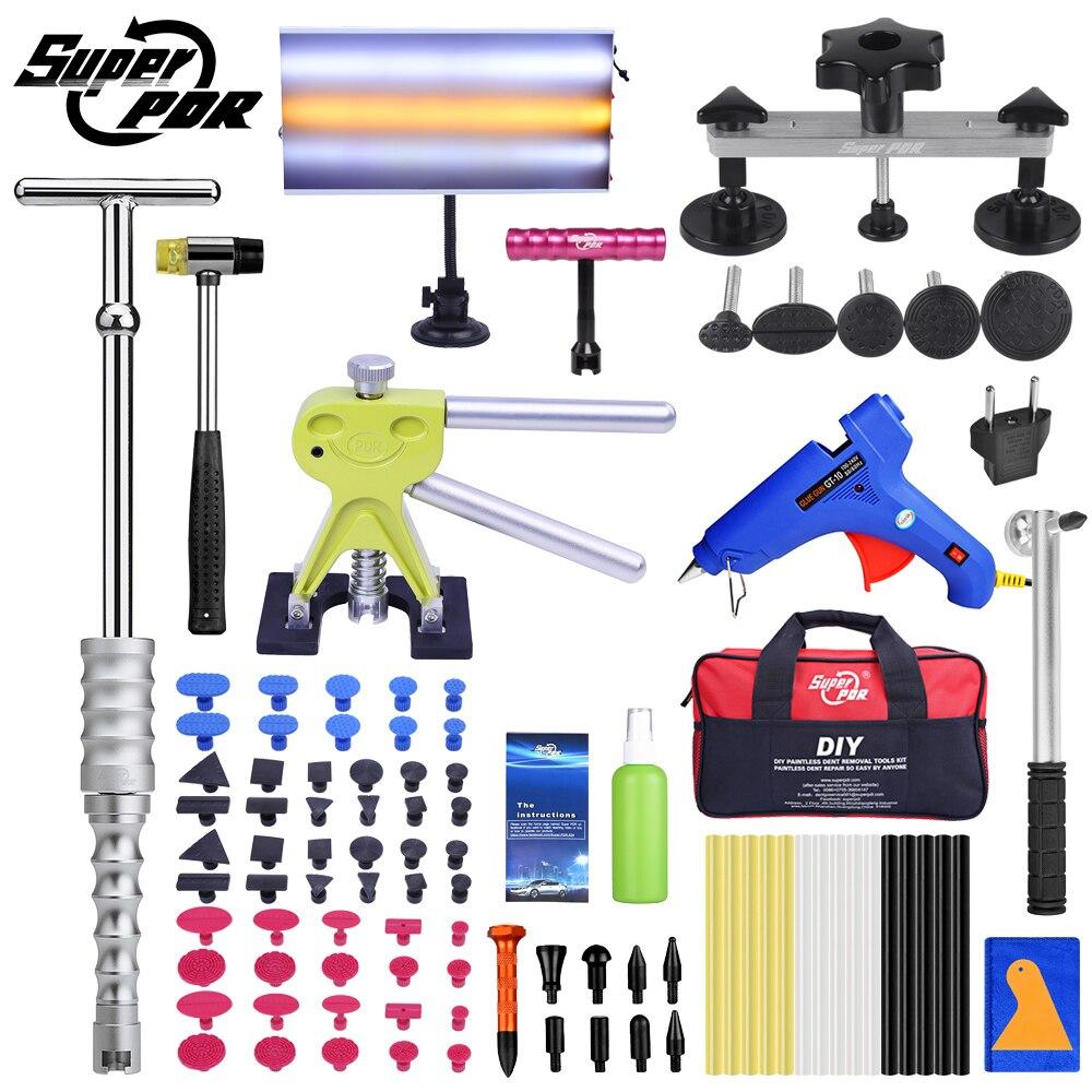 Super Ferramenta PDR Paintless Dent Repair Tools Kit Para Carro Kit Conjunto de Ferramentas de Mão Auto Dent Dent Granizo Remoção Extratores ventosa GlueGun