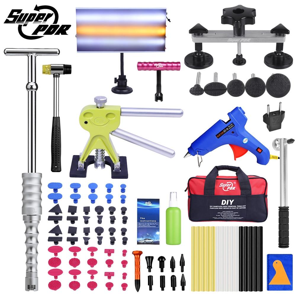 Super PDR Kit d'outils pour voiture sans peinture outil de réparation de Dent grêle Kit de retrait de Dent ensemble d'outils à main Auto extracteur de Dent ventouse GlueGun