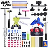 Super kit de ferramentas pdr para carro ferramenta de reparo paintless dent granizo kit remoção mão conjunto de ferramentas auto dent pullers ventosa gluegun