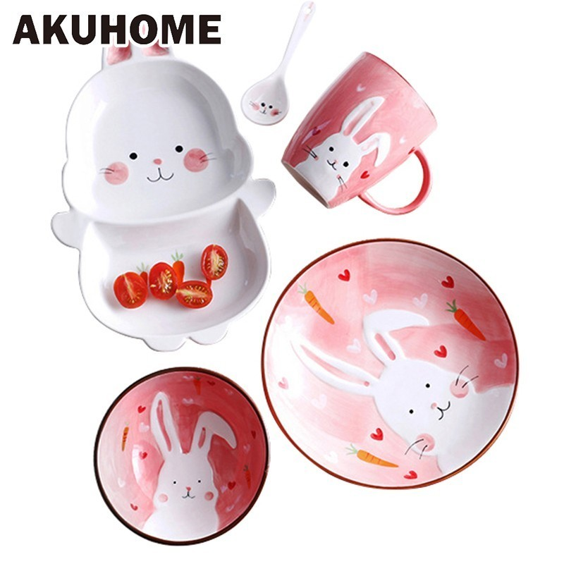 Lovely Animal bowl Originality Style Hand Children Healthy Ceramics Tableware The Household Spoon fruit Dishes salad Glass bowls in Bowls from Home Garden