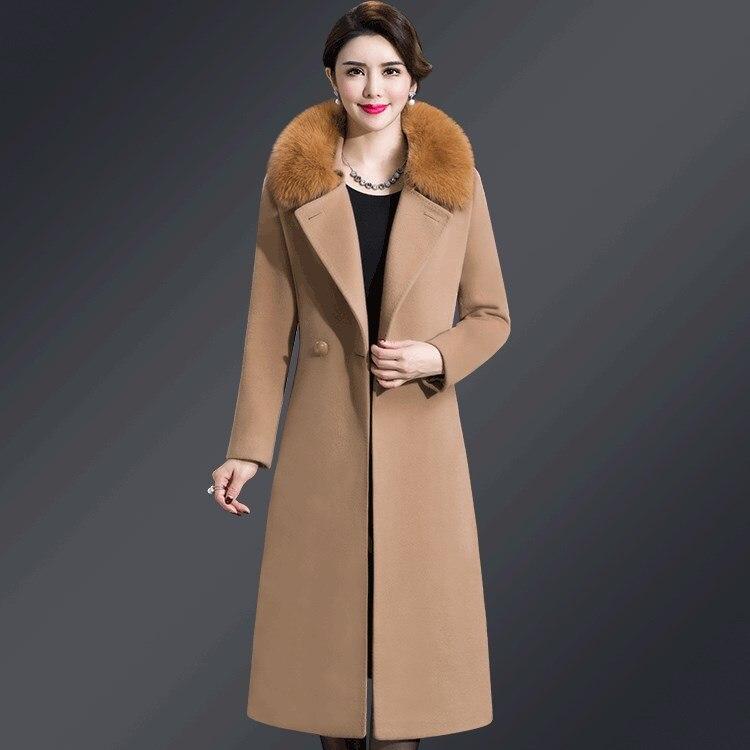 Nouveau Manteau Long Col Breasted Chaud Fourrure Noir pourpre De bourgogne 4xl Bouton bleu camel Double Femmes Noir Laine D'hiver En qg566tP