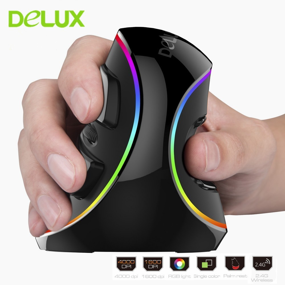 Delux M618 PLUS RGB Mouse Ergonomic Vertical Gaming Mouse Wired 6 Buttons 4000 DPI USB Optical Right Hand Mice For PC Laptop