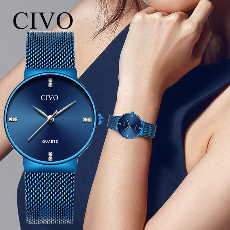 CIVO Women Watches Fashion Rhinestone Luxury Top Brand Diamond Ladies Watch For Woman Stainless Steel Dress Wristwatch Clock