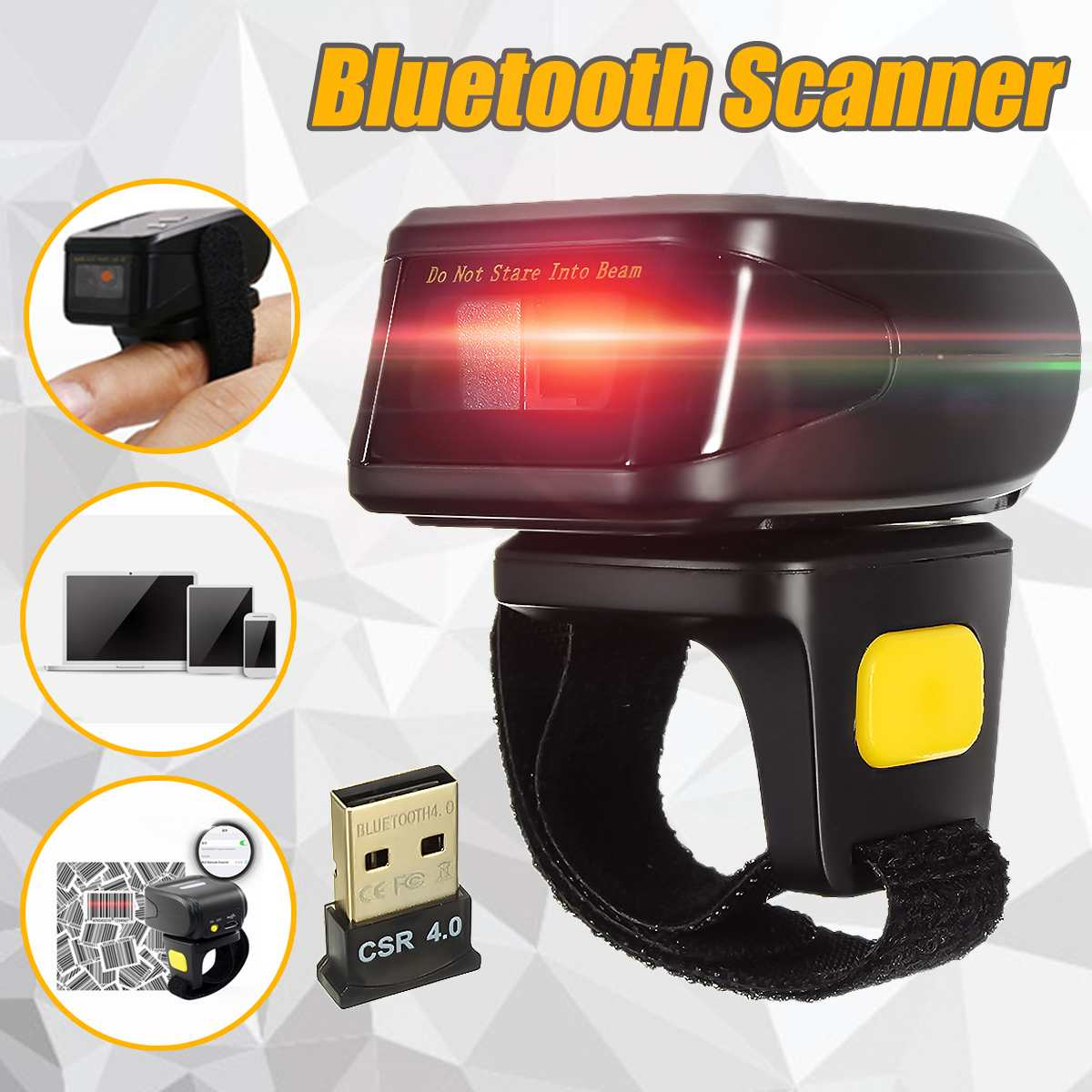 Handheld Wirelress Barcode Scanner Wearable Ring bluetooth Bar Code Reader for IOS Android Tablets Win PC