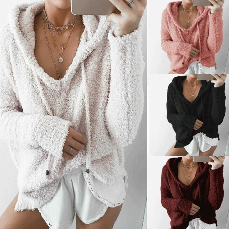 Women Casual Mohair Hooded Pullovers Fashion V Neck Fleece Sweater Sweet Loose Warm Winter Mohair Tops Pullover in Pullovers from Women 39 s Clothing