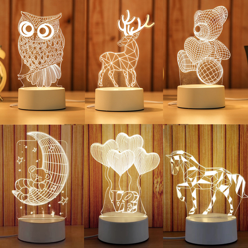 Cartoon 3D Novelty Light LED Lights 2019 New Arrivals Kids Baby Children Bedroom Lamp Soft Light Birthday Gifts Night Lamp(China)