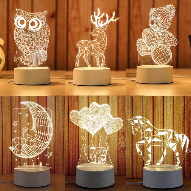 만화 3D 참신 빛 LED 조명 2019 새로운 도착 어린이 아기 어린이 침실 램프 부드러운 빛 생일 선물 밤 램프