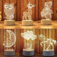 Karikatür 3D yenilik ışık LED ışıkları 2019 yeni gelenler çocuklar bebek çocuk yatak odası lambası yumuşak ışık doğum günü hediyeleri gece lambası