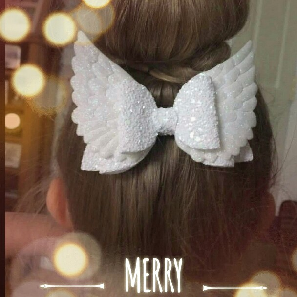Thumblina Gold 4'' Angel Wing Princess Hairgrips Glitter Hair Bows With Clip Dance Party Bow Hair Clip Girls Hair Accessories