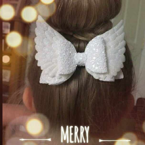 Cute Angel Wing Princess Glitter Clip Party Bow Hair Accessories