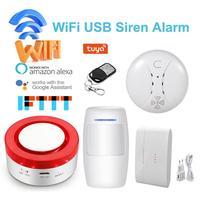 Smart Home Wireless Gateway + 2 in 1 WiFi Security System Alarm System Wireless Alarm Host