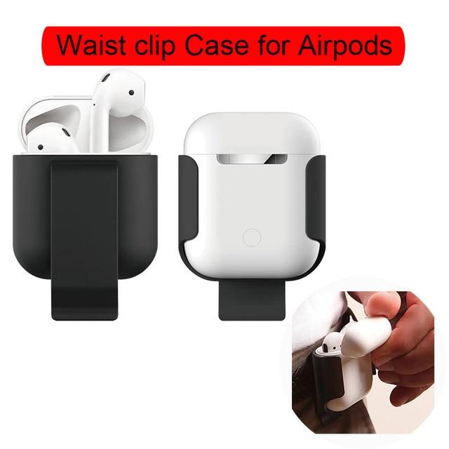 Funda de Clip de cintura para Airpods silicona Clip protección funda accesorios para Apple Airpods portátil a prueba de golpes Anti-caída
