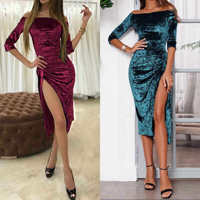 Autumn Sexy Women Velvet Off-Shoulder Long Sleeve Elegant Bodycon Stretch Slim Dress Slim High Rise Dress