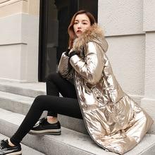 Solid Metallic Colored Bright Jacket New Women Winter Coat Overcoat Zipper Hooded Warm Cotton 2018 Female Plus Size Parkas PJ216
