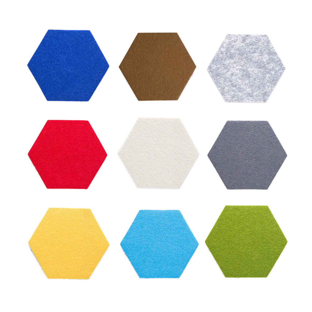 Hexagon Pad Cork Board/Pin Board, 9-Pack Colorful Wall Tiles Memo Felt Board For Wall Stickers Home Decors