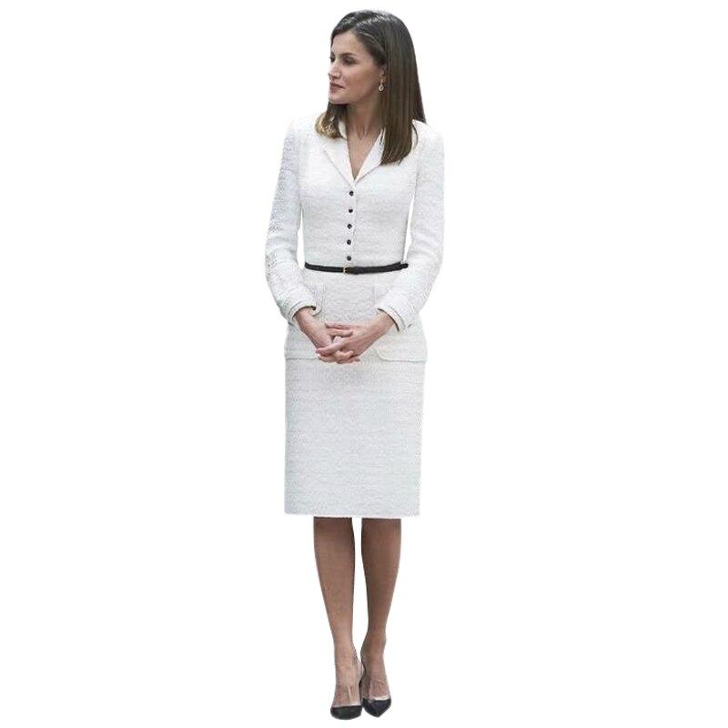 Robe Tweed Col D'affaires Piste Travail Créateurs Mode Blanc 2018 D'hiver Bureau Élégante Cranté De Princesse Bouton wxUZqxX7
