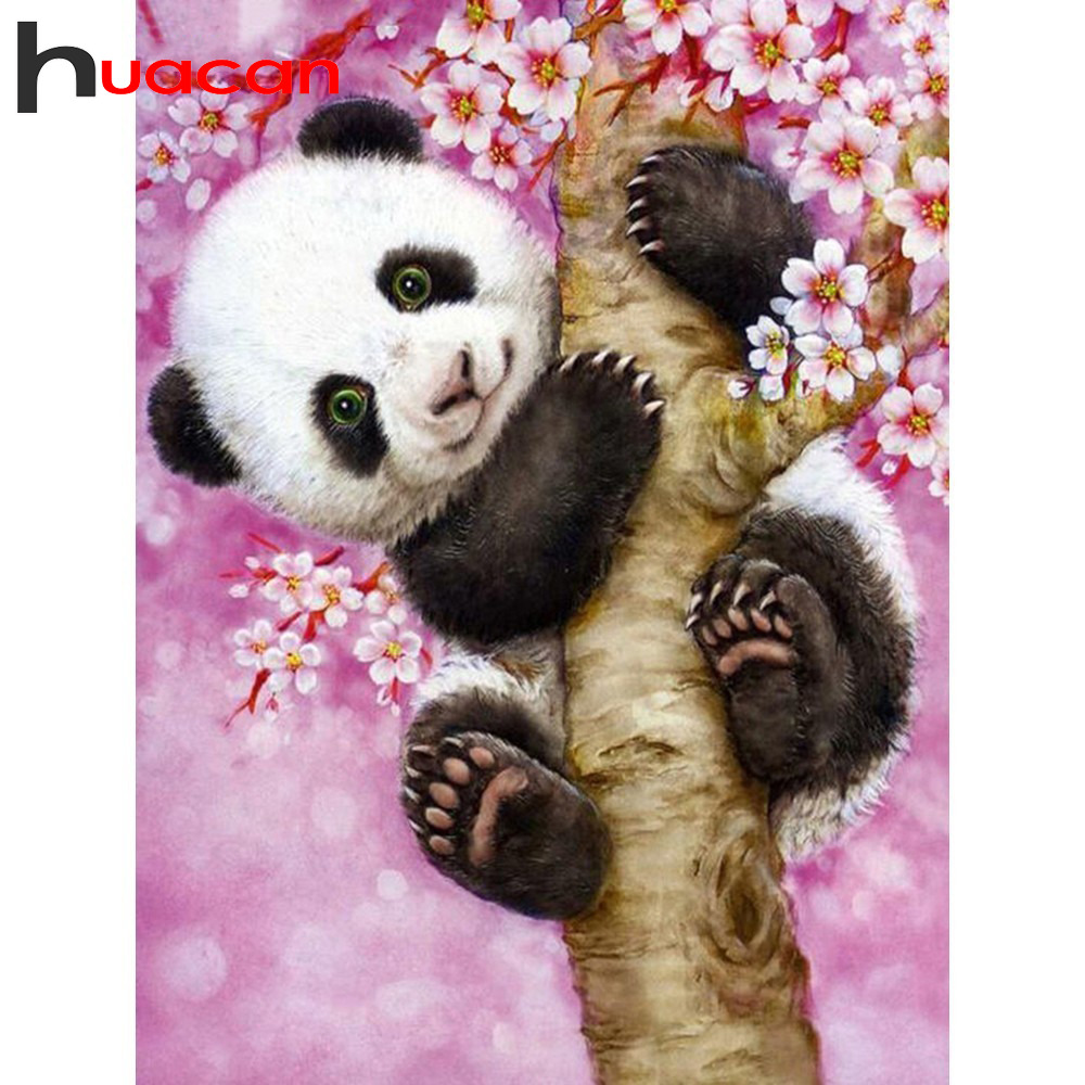Huacan Passatempo Pintura Diamante Diamante Bordado Animais Panda Strass Ferramentas Fotos Mosaico Diamante Broca Praça Cheia