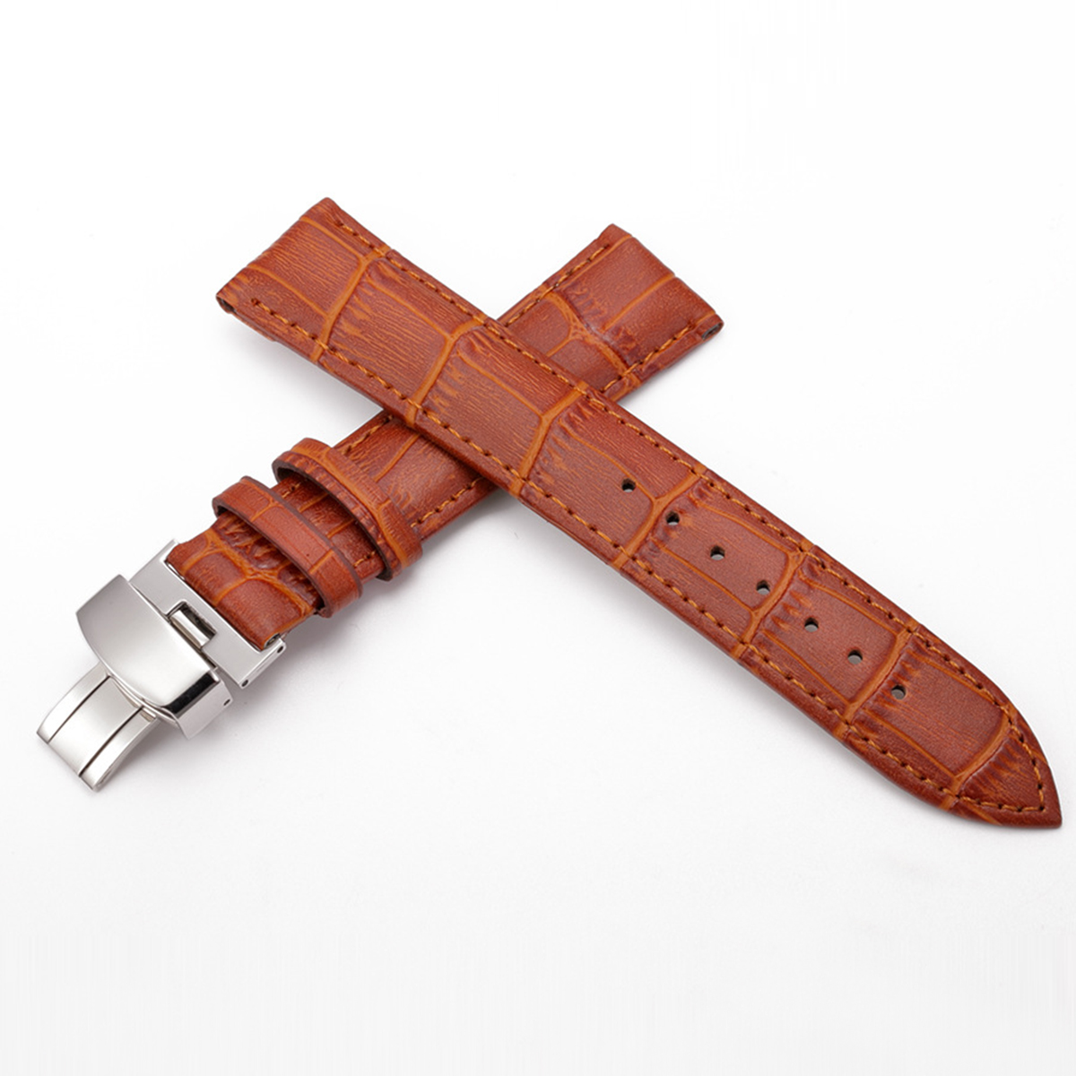 Watchband Men Women Watch Band 18-24mm Leather Watch Band Butterfly Clasp Buckle Replacement Watch Strap