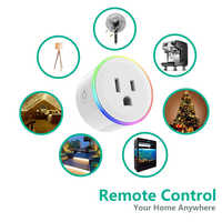 US Plug Smart WiFi Power Socket Switch 10A RGB Indicator Timing Switch Voice Control Work with Alexa Google Assistant