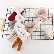 Детский шарф-шаль с кроличьим воротником; коллекция года; Детские теплые шарфы с имитацией овчины и рисунками; Детские аксессуары; сезон осень-зима; От 0 до 3 лет