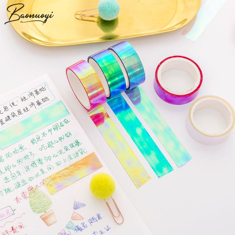 1Pc Rainbow Laser Tape PP Sticker Stationery Scrapbooking Decorative Adhesive Tapes DIY Masking Tape School Supplies Office Tool