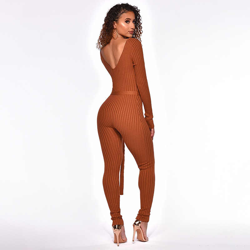 5e9514175f38 ... NATTEMAID Sweater Knitted Jumpsuits For Women 2018 Winter Rompers  Womens Jumpsuit Off Shoulder Long Sleeve Bodycon ...