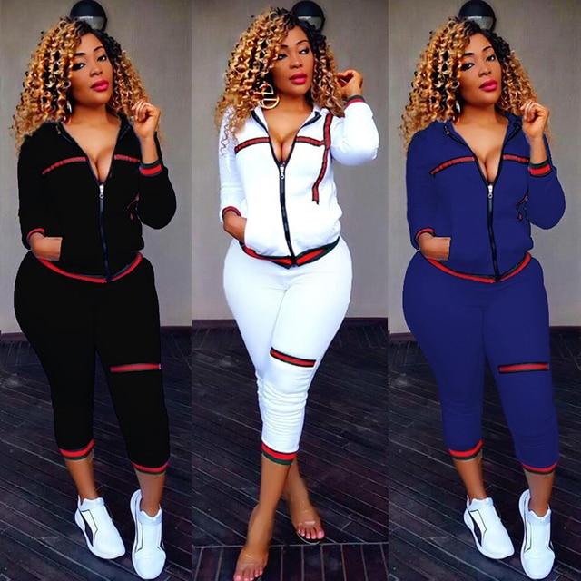 ffb991887683d TWO PIECE SET Trendy Tracksuit Sweat Suit Plus Size Jogger Pants Women Long  Sleeve Fashionnova Sweatpants