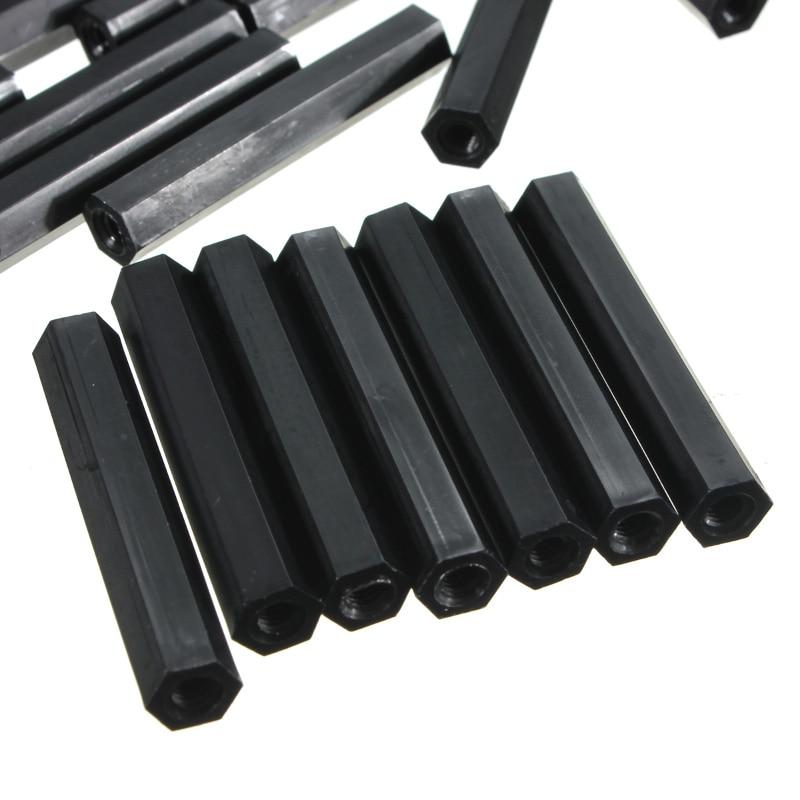 Suleve Black M2NH4 50pcs M2 Nylon Hex Hexagonal Female Thread PCB Standoff Spacers 10/15/20/25mm For Office Equipment
