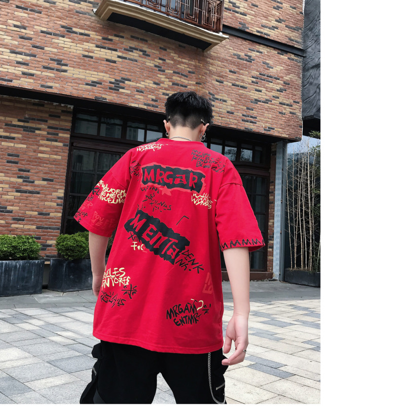 Men 39 s T shirt 2019 Summer New Youth Popular Loose Round Neck Pullover T shirt Printing Short sleeved Youth Casual Men 39 s Clothing in T Shirts from Men 39 s Clothing